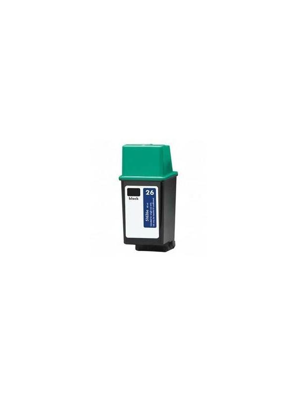 HP 26 (51626) remanufacturado - HP 26 (51626) remanufacturado. Cartucho de tinta remanufacturado. Capacidad 35 ml. Compatible con Deskjet: 310,320,340, 400,420,500, 510,520,540, 550,560, Deskwriter: C,310,320 ,540,550, 560, Designjet 600