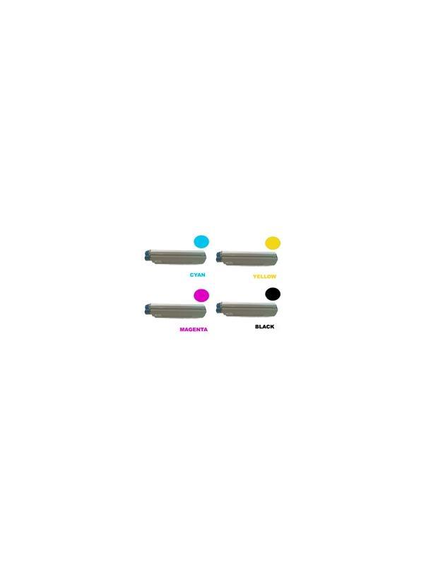 Pack OKI 8600 8800 (4 colores) - Producto fabricado en la Unión Europea.  El material utilizado para la fabricación de este pack de cartuchos, es de la marca Mitsubishi y tiene una excelente calidad de impresión. Se garantiza la durabilidad y protección tanto de la impresora como del tambor (Drum) Este producto tiene una garantía total de 2 años.   Toner Oki c8600 c8800. Pack de 4 cartuchos de Toner Compatible - Reciclado (4 colores) Oki c8600 c8800.
