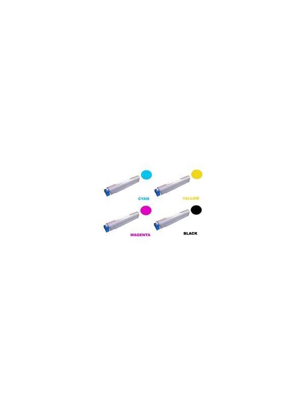 Pack Toner OKI c9850 (4 colores) - Producto fabricado en la Unión Europea.  El material utilizado para la fabricación de este pack de cartuchos, es de la marca Mitsubishi y tiene una excelente calidad de impresión. Se garantiza la durabilidad y protección tanto de la impresora como del tambor (Drum) Este producto tiene una garantía total de 2 años.   Toner Oki c9850. Pack de 4 cartuchos de Toner Compatible - Reciclado (4 colores) Oki c9850.