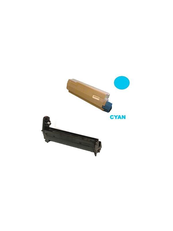 TAMBOR CYAN + CARTUCHO TONER OKI c5650 c5750 CYAN - Producto fabricado en la Unión Europea.  El material utilizado para la fabricación de este pack, es de la marca Mitsubishi y tiene una excelente calidad de impresión. Se garantiza la durabilidad y la calidad de impresión. Para el buen funcionamiento, y duración del tambor, se aconseja, no mezclarlo con toner de baja calidad, puesto que aceleran el desgaste, y pueden generar diversos errores de impresión.  Este producto tiene una garantía total de 2 años.  Tambor CYAN remanufacturado 20.000 pag. + Cartucho toner CYAN remanufacturado alta capacidad 2.000 páginas con una cobertura por página de 5%. Compatibles con impresoras OKI c5650 c5750