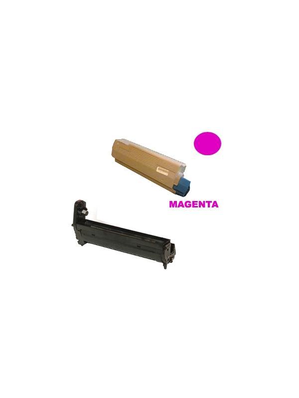 TAMBOR MAGENTA + CARTUCHO TONER OKI c5650 c5750 MAGENTA - Producto fabricado en la Unión Europea.  El material utilizado para la fabricación de este pack, es de la marca Mitsubishi y tiene una excelente calidad de impresión. Se garantiza la durabilidad y la calidad de impresión. Para el buen funcionamiento, y duración del tambor, se aconseja, no mezclarlo con toner de baja calidad, puesto que aceleran el desgaste, y pueden generar diversos errores de impresión.  Este producto tiene una garantía total de 2 años.  Tambor MAGENTA remanufacturado 20.000 pag. + Cartucho toner MAGENTA remanufacturado alta capacidad 2.000 páginas con una cobertura por página de 5%. Compatibles con impresoras OKI c5650 c5750